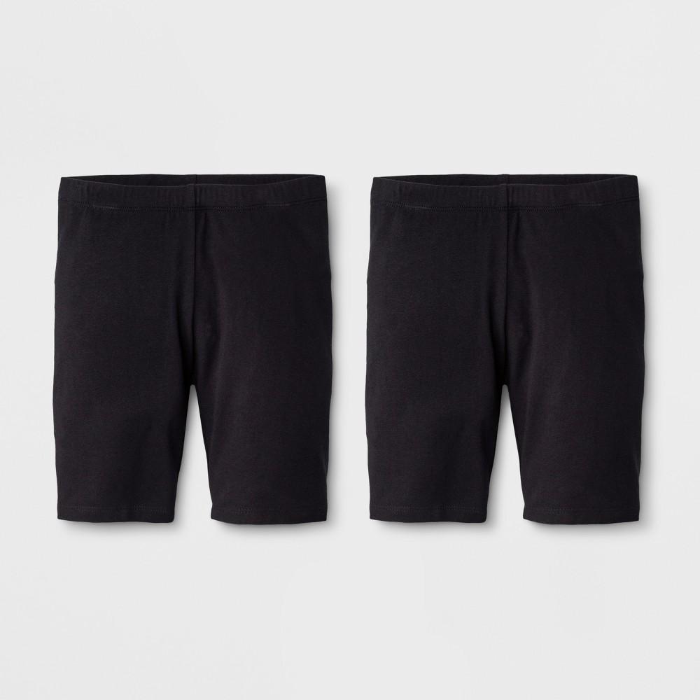 Girls' 2pk Mid-Length Bike Shorts - Cat & Jack Black, Size: Small
