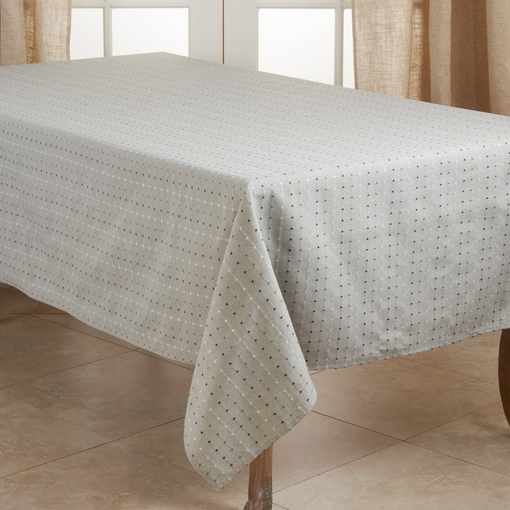 """Image of """"104"""""""" x 65"""""""" Cotton Stitched Squares Tablecloth Gray - Saro Lifestyle"""""""