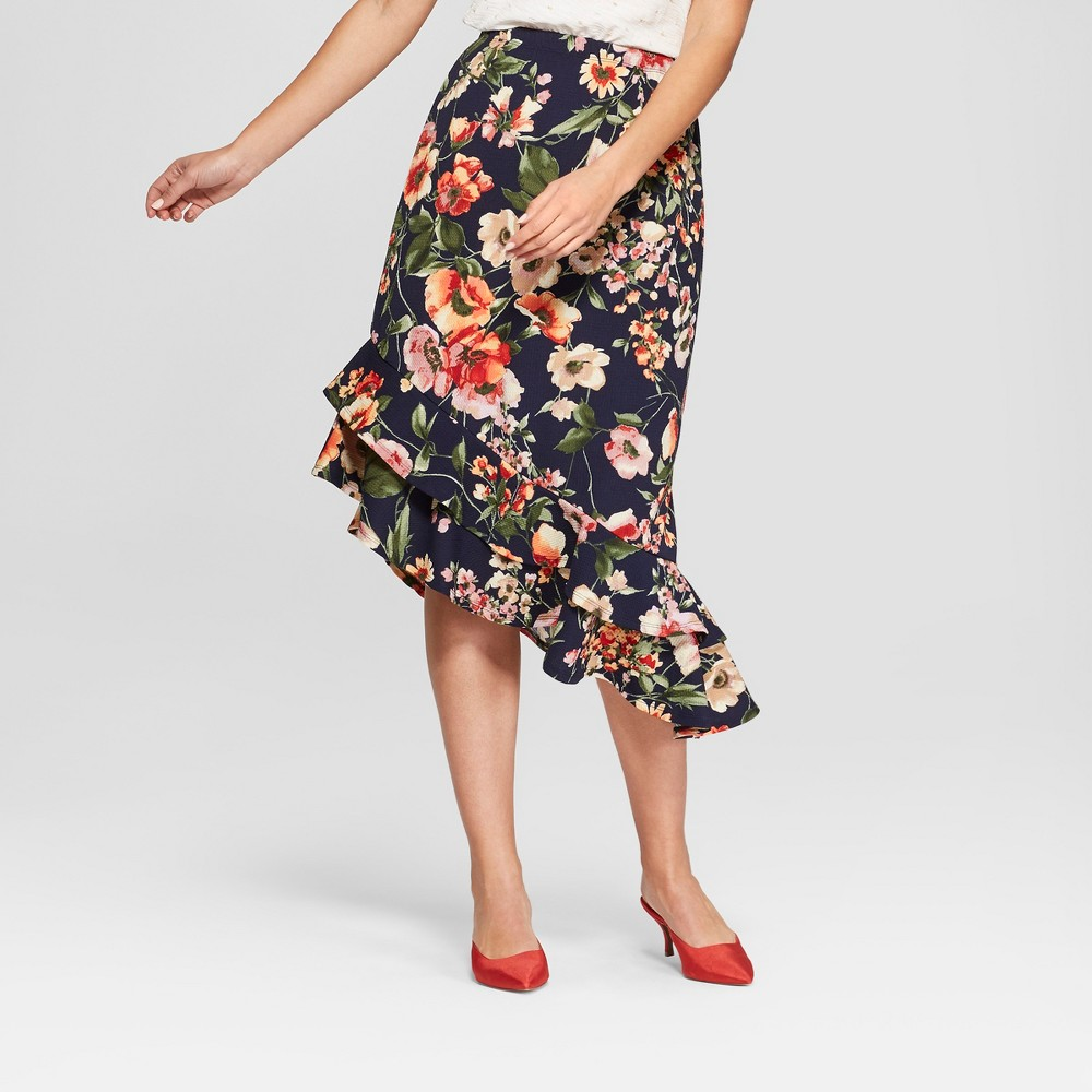 Image of Women's Floral Print Asymmetrical Ruffle Hem Skirt - Loramendi - Navy L, Size: Large, Blue