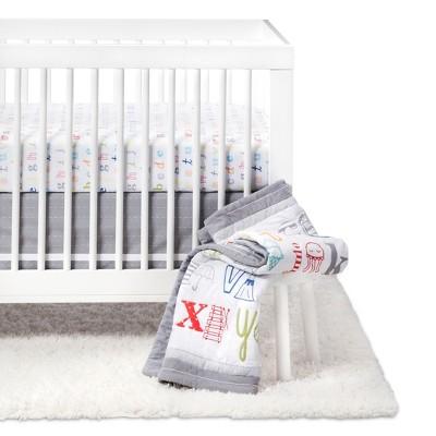 Crib Bedding Set Classic Alphabet 4pc - Cloud Island™ - Gray
