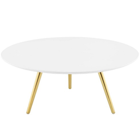 "36"" Lippa Round Wood Top Coffee Table with Tripod Base Gold/White - Modway - image 1 of 4"