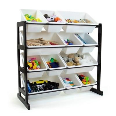 Ladder Toy Storage Organizer with 12 Storage Bins Espresso/White - Humble Crew
