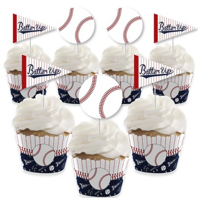 Big Dot of Happiness Batter Up - Baseball - Cupcake Decoration - Baby Shower or Birthday Party Cupcake Wrappers and Treat Picks Kit - Set of 24