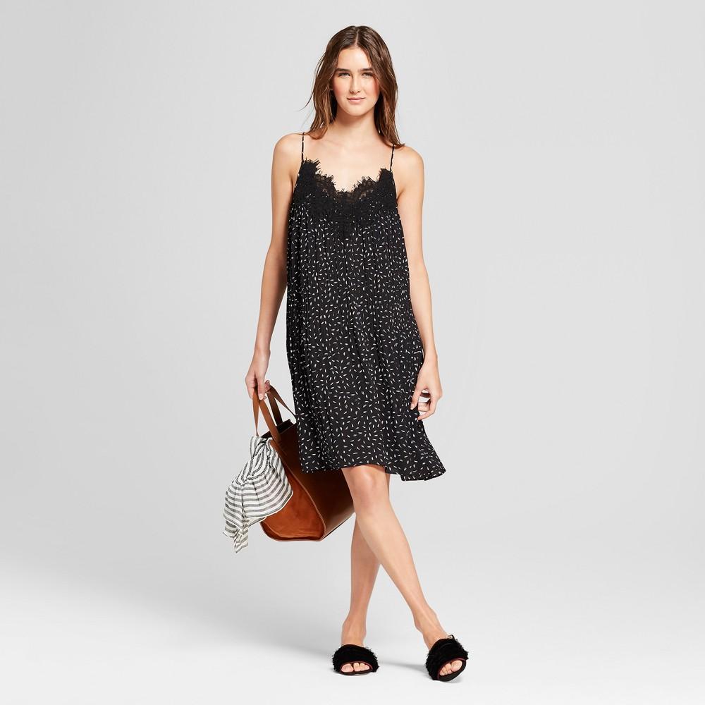 Women S Polka Doted Spaghetti Strap Dress With Lace Trim K By Kersh Black White M