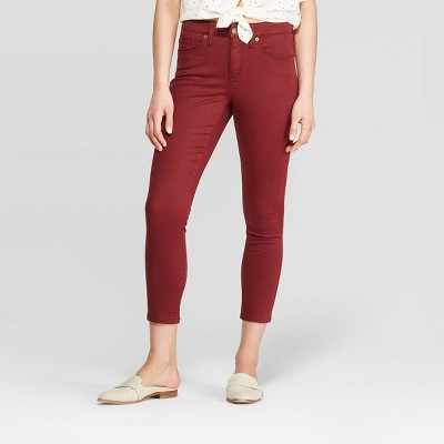 Women's High Rise Cropped Skinny Jeans   Universal Thread Burgundy by Rise Cropped Skinny Jeans