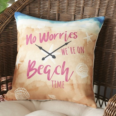 Lakeside No Worries We're On Beach Time Outdoor Patio Chair Accent Pillow