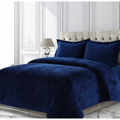 Venice Velvet Oversized Solid Duvet Cover Set - Tribeca Living