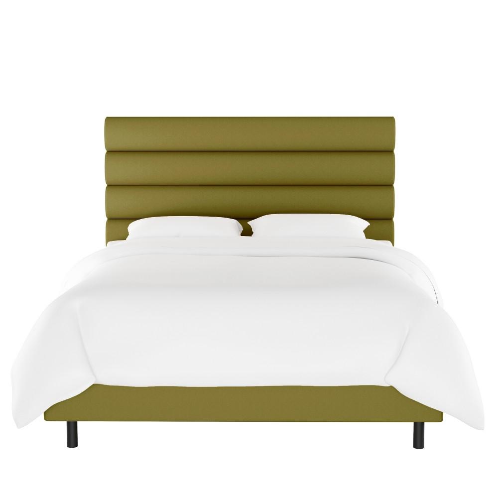 King Horizontal Channel Bed Green Velvet Opalhouse 8482