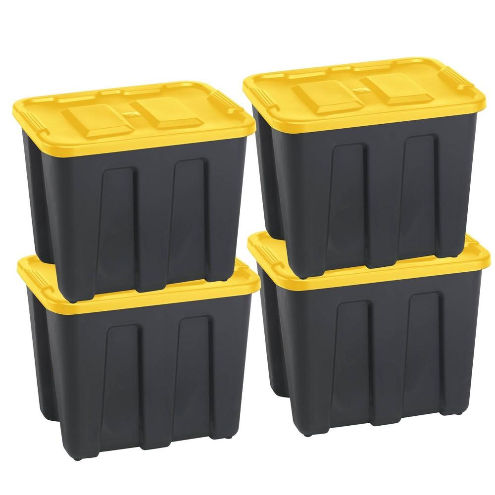 Durabilt18 Gal Storage Totes Set Of 4 Black Yellow