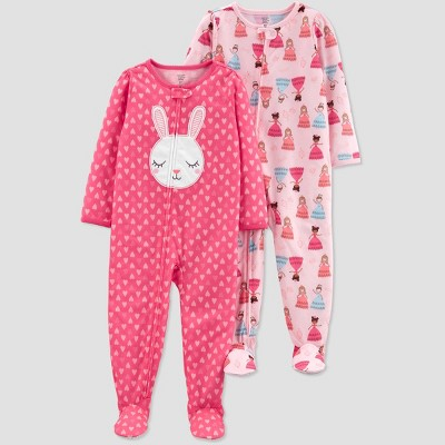 Baby Girls' Pink Bunny Princess Poly Footed Sleepers - Just One You® made by carter's Pink 9M