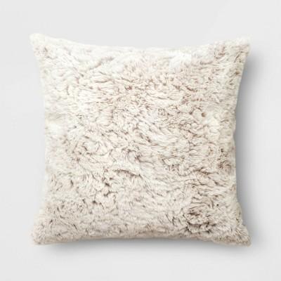 "18""x18"" Tipped Faux Rabbit Fur Square Throw Pillow Neutral"