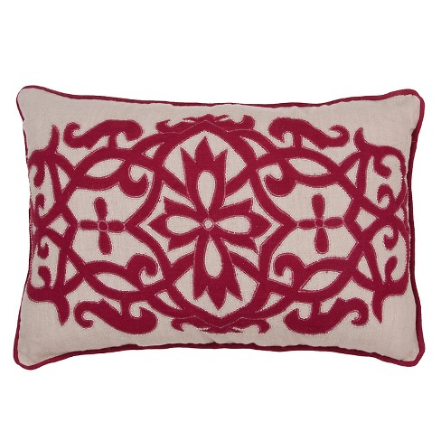 """Red Inspired By Jennifer Adams Throw Pillow (24""""x16"""") - Jaipur - image 1 of 1"""