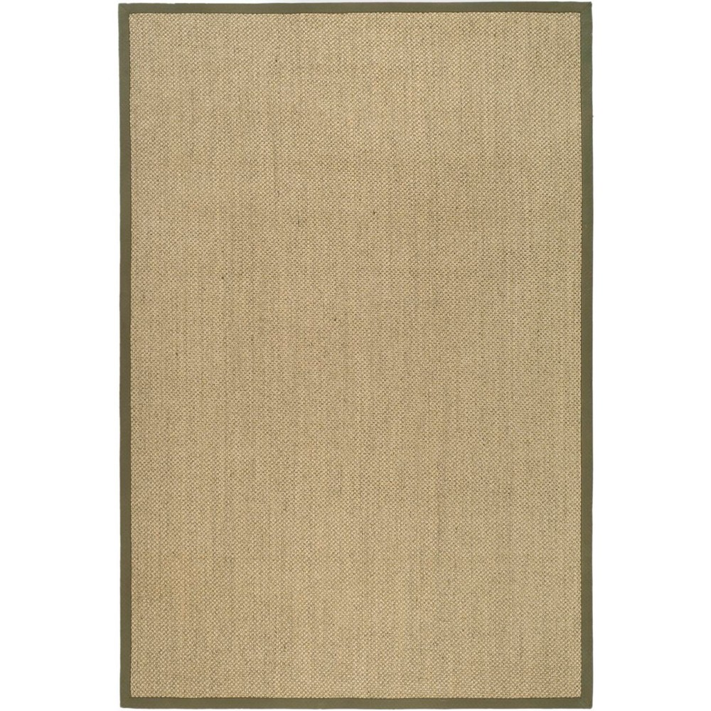 6'X9' Solid Loomed Area Rug Natural/Green - Safavieh