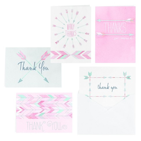 25ct Watercolor Arrow Thank You Set - image 1 of 1