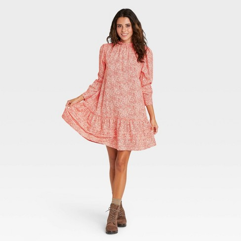 Women's Floral Print Puff Long Sleeve Ruffle Dress - Universal Thread™ - image 1 of 4