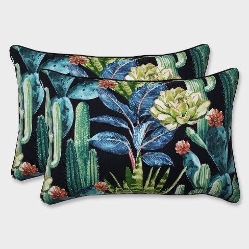 2pk Oversize Hatteras Rectangular Throw Pillow Black - Pillow Perfect - image 1 of 1