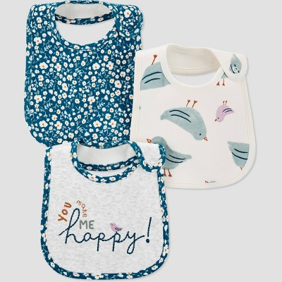 Baby Girls' 3pk Floral Bib - Just One You® made by carter's Blue