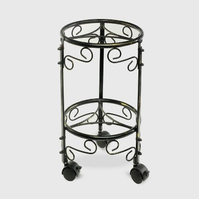 2 Tier Iron Plant Stand With Wheels Black/Gold - Ore International