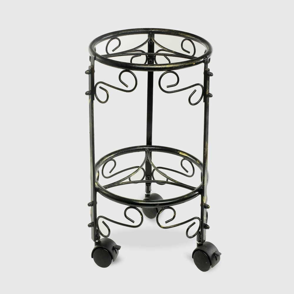 Image of 2 Tier Iron Plant Stand With Wheels Black/Gold - Ore International