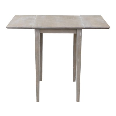 Gentil Small Solid Wood Drop Leaf Table Washed Gray Taupe   International Concepts  : Target