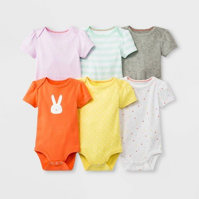 Baby Girls' 6pk Short Sleeve Bodysuit Sets - Cloud Island™ 0-3M