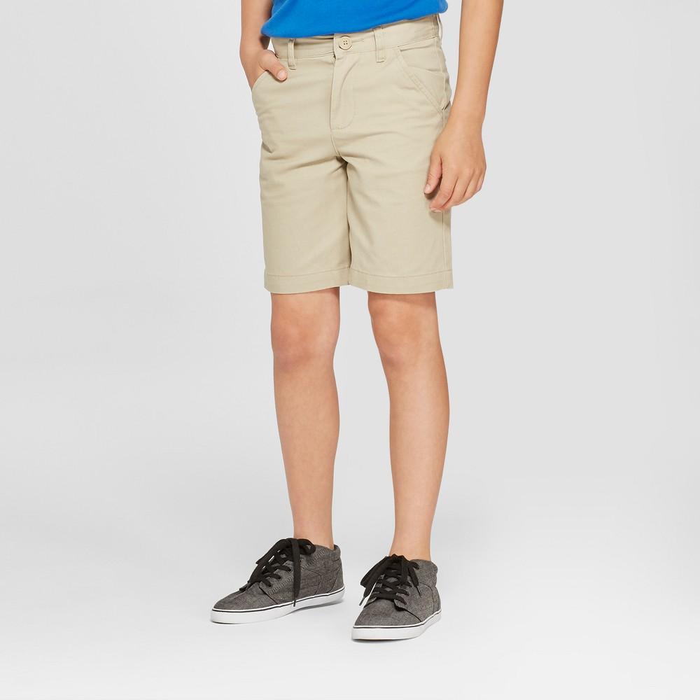 Boys' Chino Uniform Shorts - Cat & Jack Khaki (Green) 14 Husky