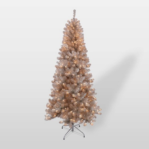 6.5ft Pre-Lit Rose Gold Tinsel Slim Artificial Christmas Tree - Puleo - image 1 of 3