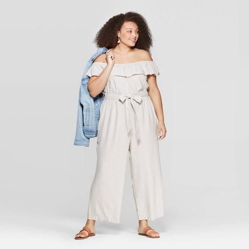 Women's Plus Size Off the Shoulder Jumpsuit - Universal Thread™ - image 1 of 3