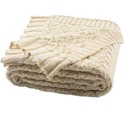 "Adara Knit Throw Blanket - Natural/Gold - 50"" X 60"" - Safavieh"