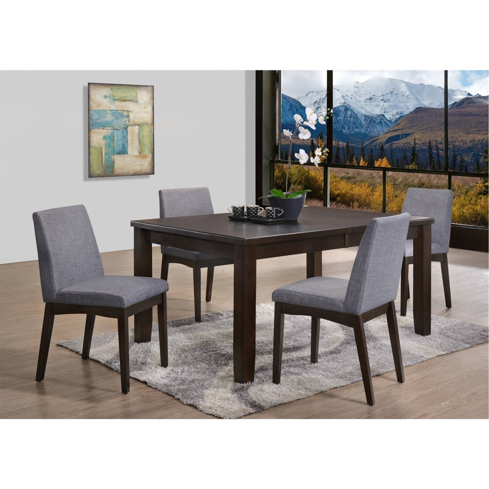 5pc Pyke Dining Table & Side Chairs Espresso/Gray Fabric - Picket House Furnishings