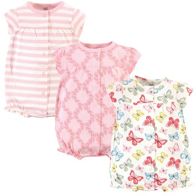 Touched by Nature Baby Girl Organic Cotton Rompers 3pk, Butterflies
