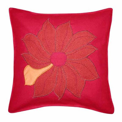 "C&F Home 18"" x 18"" Red Flower Applique Pillow"