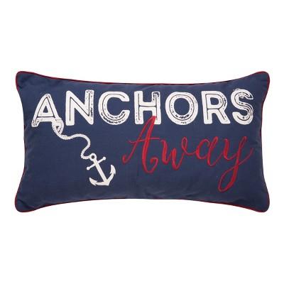 """C&F Home 12"""" x 24"""" Anchors Away Nautical Embroidered Lumbar Throw Pillow"""