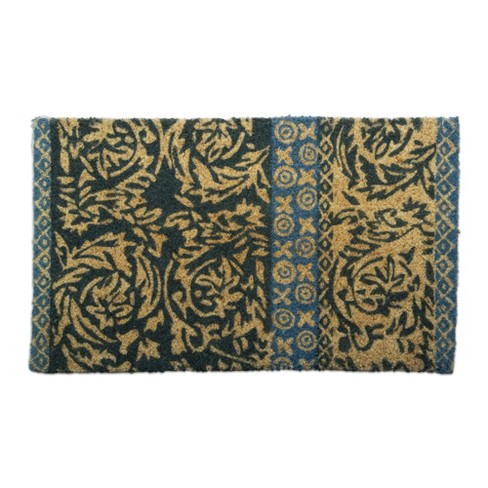 TAG Neela Block Print Coir Doormat Indoor Outdoor Welcome Mat Jacobean Floral Design - image 1 of 2