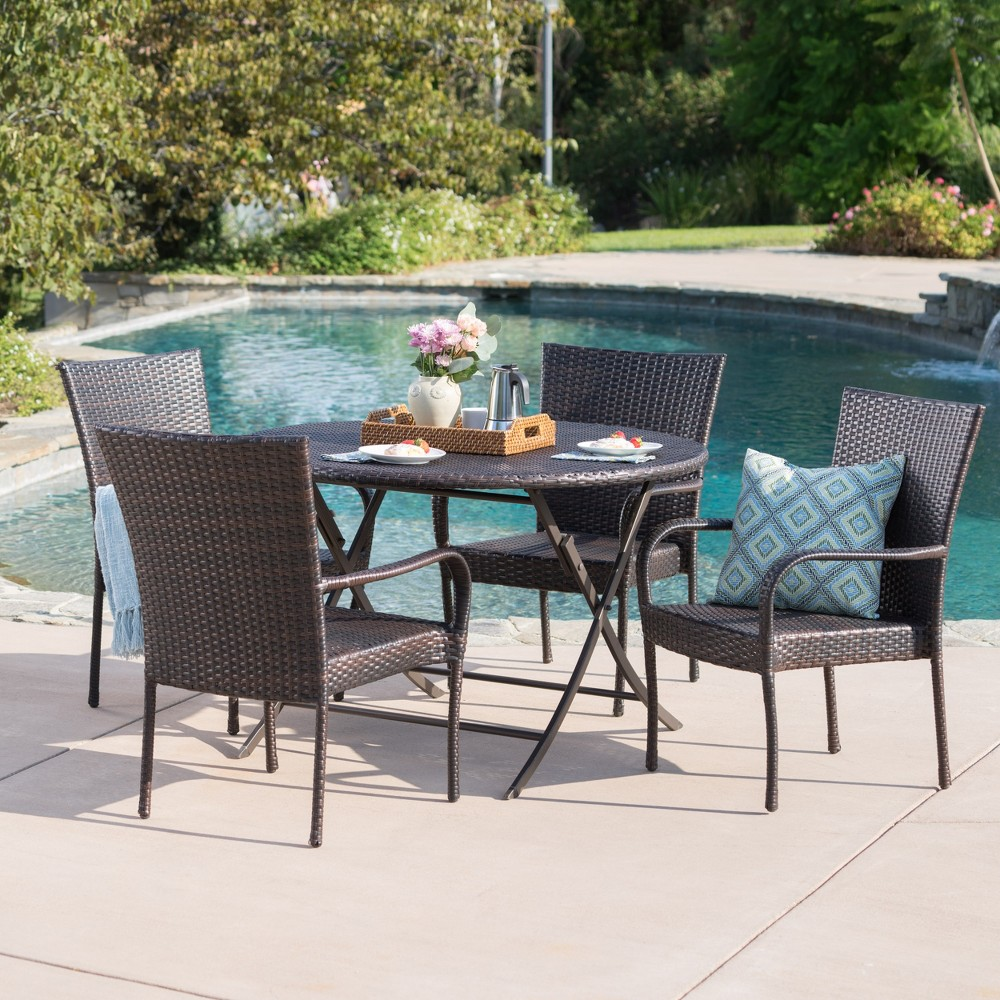 Remy 5pc Wicker Dining Set - Brown - Christopher Knight Home