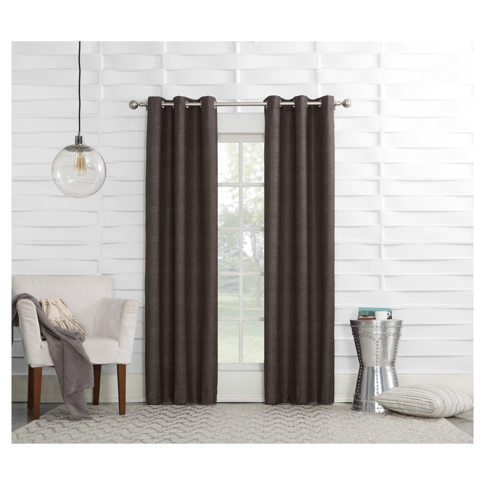 Haverhill Linen Texture Thermal Insulated Energy Efficient Grommet Curtain Panel Chocolate (Brown) 40