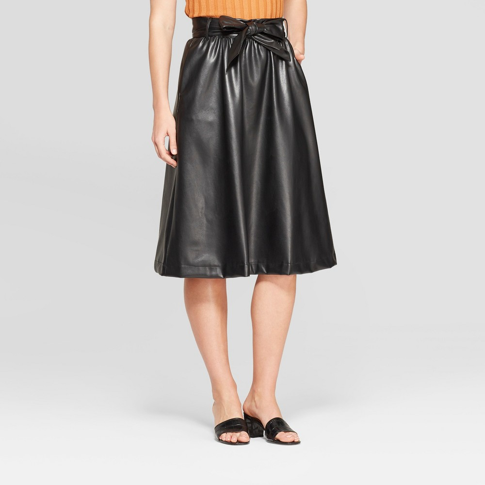 Women's Belted Leather Skirt - Who What Wear Black 6