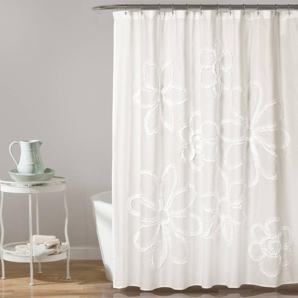 "Image of ""72""""X72"""" Single Ruffle Flower Shower Curtain White - Lush Décor"""
