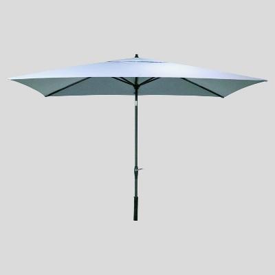 6.5' x 10' Rectangular Patio Umbrella Chambray - Black Pole - Threshold™