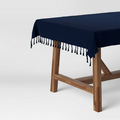 "50"" Cotton Textured Border Table Throw Blue - Threshold™"