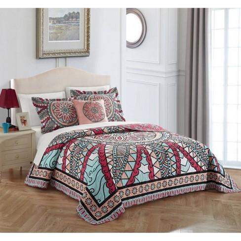 Chic Home Design Queen 4pc Leotie Quilt & Sham Set Aqua - image 1 of 4