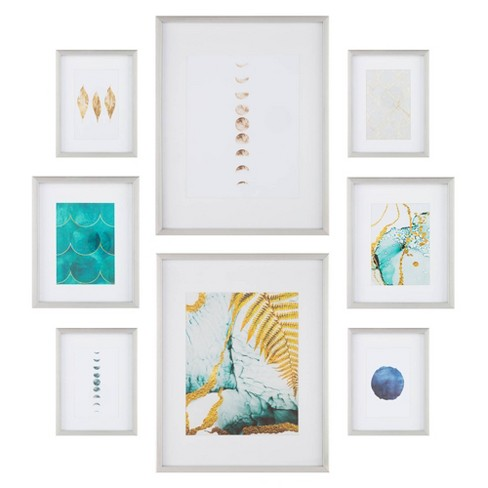 8pc Gallery Wall Frame Set with Decorative Art Prints and Hanging Template Silver - Gallery Solutions - image 1 of 4
