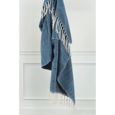 "50""x60"" Stripe Throw Blanket Dark Blue - Rizzy Home"