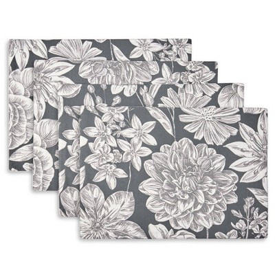 4pk Cotton Linear Floral Placemats - Town & Country Living