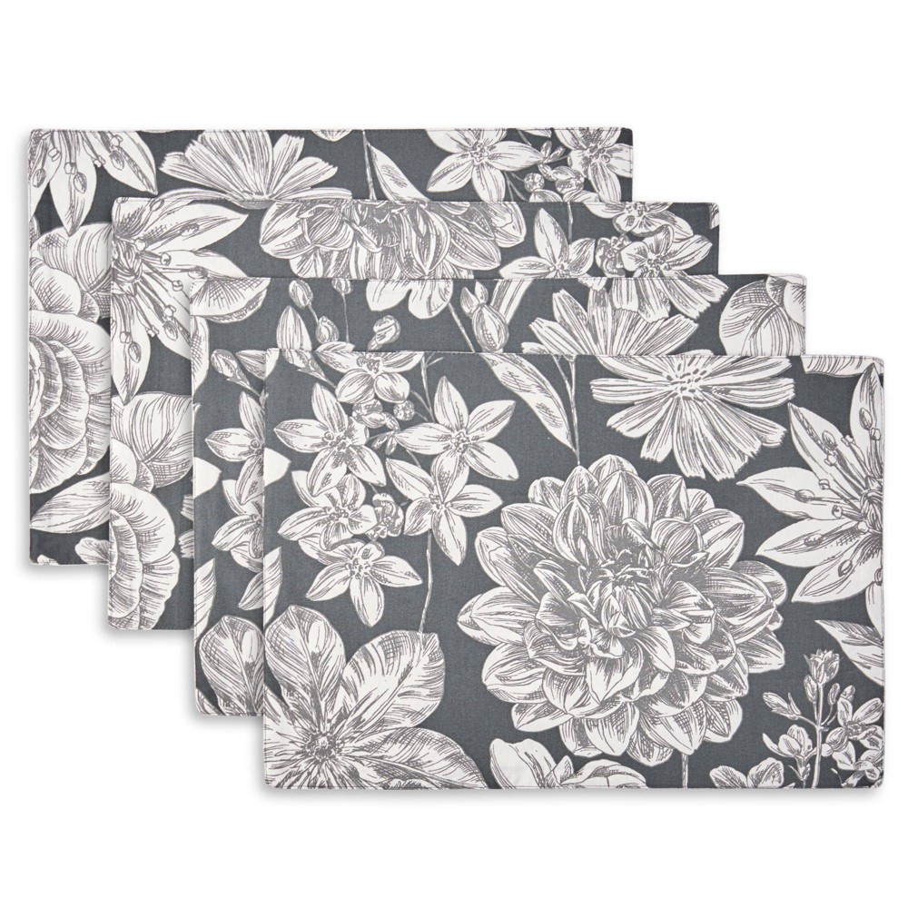 Image of 4pk Cotton Linear Floral Placemats - Town & Country Living
