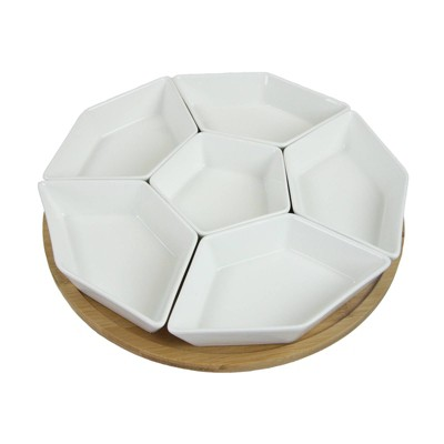 7pc Stoneware Beautiful Geo Party Serving Set White - Elama