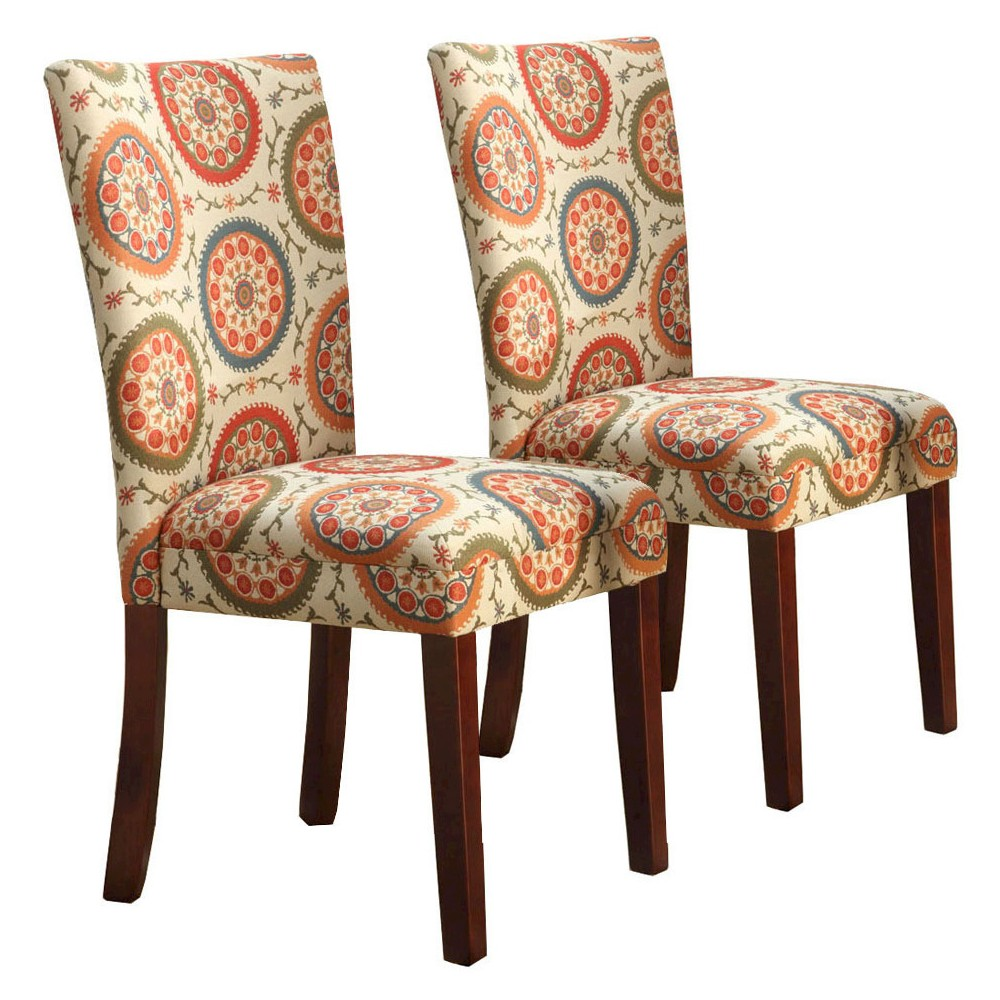 Parsons Pattern Dining Chair Wood (Set of 2) - HomePop, Suzani