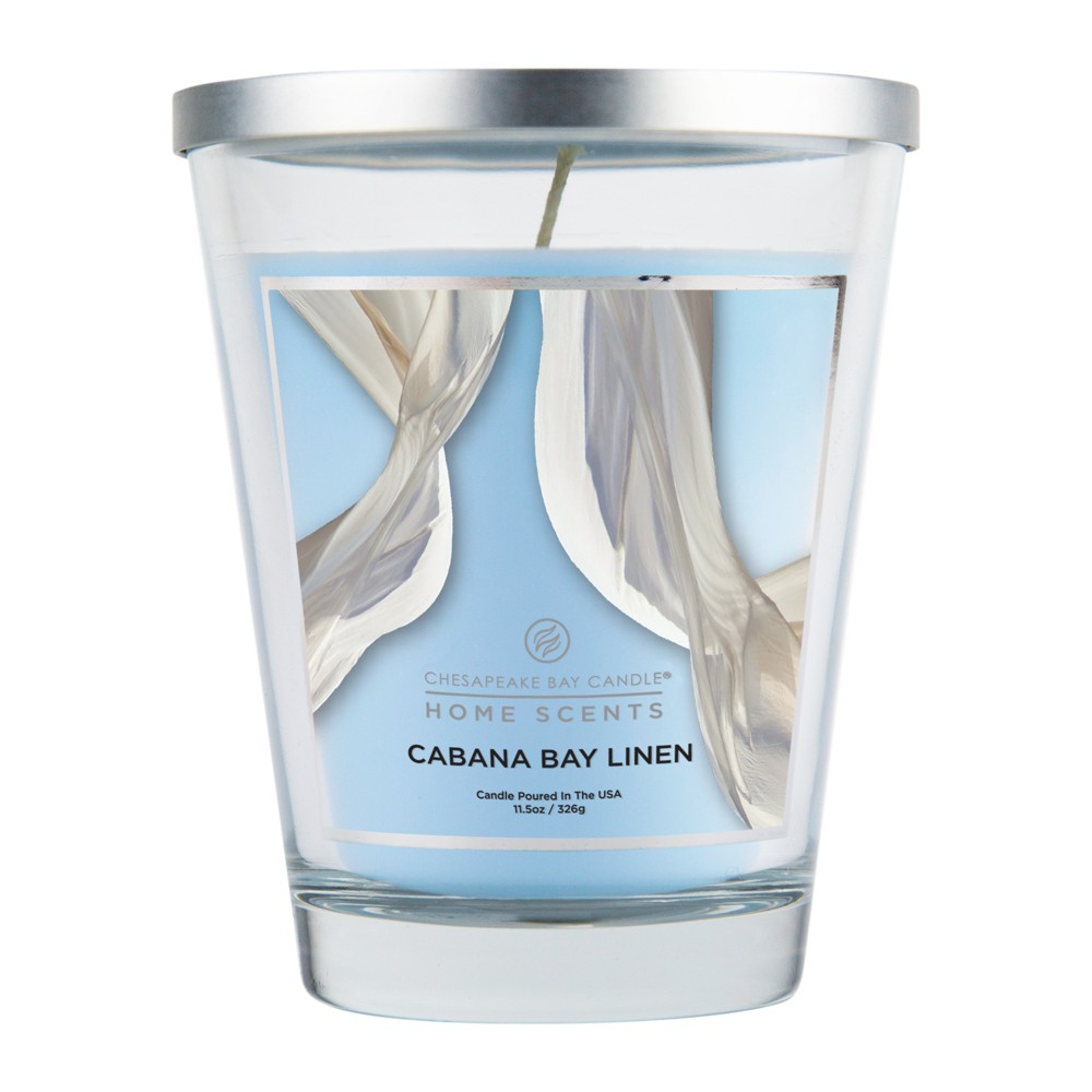 Image of 11.5oz Lidded Glass Jar Candle Cabana Bay Linen - Home Scents By Chesapeake Bay Candle, White