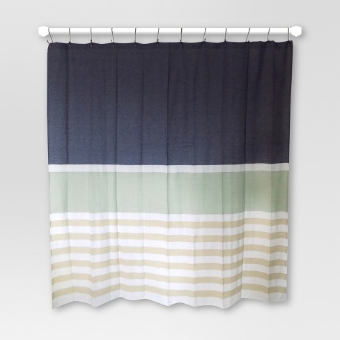 Textured Stripes Shower Curtain Indigo