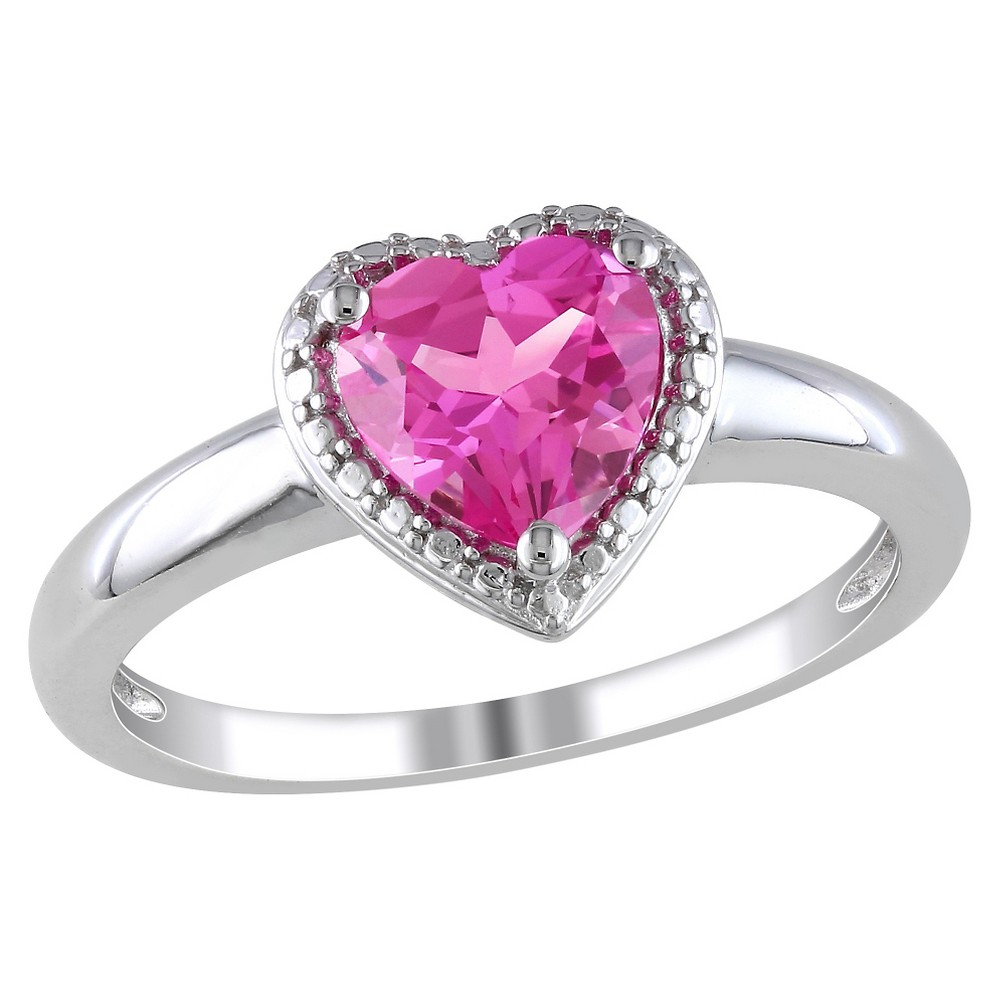 1 1/2 CT. T.W. Heart Shaped Simulated Pink Sapphire Ring in Sterling Silver - 9 - Pink